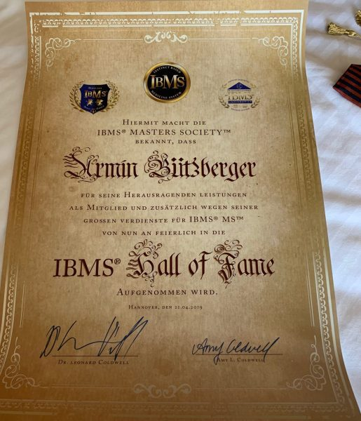 IBMS Hall of Fame Auszeichung IBMS MasterCoach Armin Bützberger